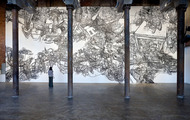 <p>Still Life#11, 1/4'' Black Masking Tape on Mylar and Wall, 24'x60', 2012</p>