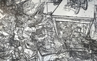 <p>Still Life#11 (Detail), 1/4'' Black Masking Tape on Mylar and Wall, 24'x60', 2012</p>