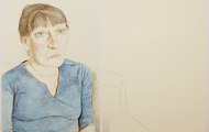 <p><em>Cheryl</em>, color pencil on paper, 23 x 30 inches (diptych), 2012</p>