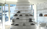 <p>Maison Martin Margiela Champagne Shoe Tower (commission) / 2007 / 7000 champagne glasses, giant mirror, plexiglass / Beverly Hills, CA / 16 x 8'&nbsp;</p>
