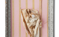 <p>Girlie Parts Interrupted--Pink or Blue, 26x22 inches</p>