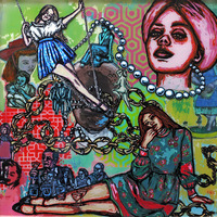 "<p><em>Girl/Power</em>, 2012, 22""x22"", Ink, acrylic, screenprint, ink transfer, sharpie and paint pens on three panes of glass.&nbsp;</p>"