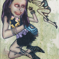 """<p><em>Violent Femme 1</em>, 2012, 16""""x12"""", Ink, acrylic, oil, watercolor, watercolor ink, photo transfer and dura-lar on glass.</p>"""