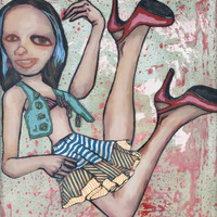 "<p><em>Violent Femme 2</em>, 2012, 16""x12"", Ink, acrylic, oil, watercolor, watercolor ink, photo transfer and dura-lar on glass. </p>"
