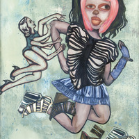 "<p><em>Violent Femme 3</em>, 2012, 16""x12"", Ink, acrylic, oil, watercolor, watercolor ink, photo transfer and dura-lar on glass.&nbsp;</p>"