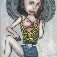 """<p><em>Violent Femme 4</em>, 2012, 16""""x12"""", Ink, acrylic, oil, watercolor, watercolor ink, photo transfer and dura-lar on glass.</p>"""