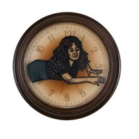 "<p><em>The Hours 7</em>, 2009, 9""diam. Ink, acrylic and polyurethane in clock.&nbsp;</p>"
