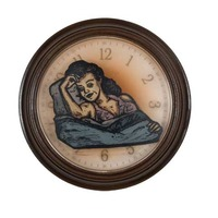 "<p><em>The Hours 11</em>, 2009, 9""diam. Ink, acrylic and polyurethane in clock.&nbsp;</p>"