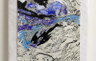 <p>Landscape, 2013 / Ink, pencil and oil on paper and tyvek / 11 x 14 inches</p>
