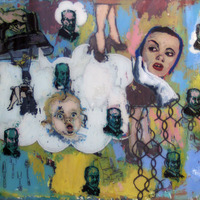 "<p><em>If It's Not One Thing, It's Your Mother</em>, 2005, 26""x32"", Ink and acrylic on two panes of glass. </p>"