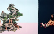 <p><em>Mirage Lake/Peak of Perfection/Twilight</em>, 2005, 72 x 130 inches, colored pencil and acrylic on panel</p>