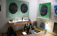 <p>Resurection Pod</p> <p>installation of paintings and sculpture at American Burial Casket Co. 2014</p>