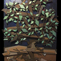 """<p>Apple Tree at Night 24""""x48"""" Mixed media on cradled birch panel. 2014<br /><br />My 13th marble track. <span>The structure built around the textured abstract parts is a track that glass marbles can roll down through the painting.</span> It features a super textured night sky background with glow in the dark stars, the moon, a flaming comet, and a red planet surrounded by a swirling gold cloud. All made with marbles, metal bearings, and metal leaf. The marbles are apple themed and are picked from the branches at random and start thier decent from the top of the tree down, through its branches, inside the base of the tree, down into the silver mine, and eventually lays to rest in a pile of bones in the catacombs at the bottom. As the apple travels into the silver mine it turns into a skull to represent life and death. The nuggets of silver are actually pumice stone covered in real silver leaf.</p>"""