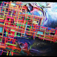 """<p><span id=""""fbPhotoSnowliftCaption"""" class=""""fbPhotosPhotoCaption""""><span class=""""hasCaption"""">Space Portals - 40"""" x 60"""" Mixed media on cradled birch panel. 2014</span></span></p> <p><span id=""""fbPhotoSnowliftCaption"""" class=""""fbPhotosPhotoCaption""""><span id=""""fbPhotoSnowliftCaption"""" class=""""fbPhotosPhotoCaption"""">My 14th marble track. <span id=""""fbPhotoSnowliftCaption"""" class=""""fbPhotosPhotoCaption"""">The structure built around the textured abstract parts is a track that glass marbles can roll down through the painting.</span>It features a super textured fluorescent and glow in the dark space station floating inbetween swirling galactic portals. When the marble rolls into the portal at the bottom, instantly a marble comes out of the portal at the top and continues down the rest of the track. Also the portals are infused with 23k gold leaf and diamond dust. The marbles are planet and galaxy themed.<br /></span></span></p>"""