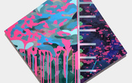 """<p style=""""text-align: center;""""><strong>Tangent I-</strong> 2014, acrylic & Kuricoat C-720(synthetic resin) <br />on panel, 28"""" × 28""""</p> <p style=""""text-align: center;"""">From<strong> IcePlants</strong> series</p>"""