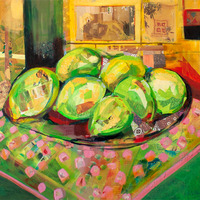 <p><em>House Limes,</em>acrylic and collage on panel,24 x 30 inches</p>