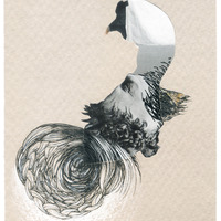 <p>Wind Swan, 2014.  Mixed media and found objects on fabriano paper, 4 x 6 inches</p>
