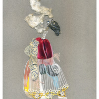 <p>Miss Haversham, 2014.&nbsp; Mixed media and found objects on fabriano paper, 12 x 9.5 inches</p>