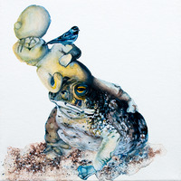 <p>Tumor Toadstool, 2011.  Watercolor, gouache, and ink on stretched paper, 8 x 8 inches</p>