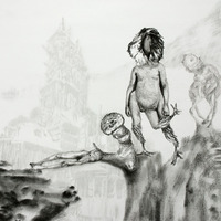 <p>Fuyapasa Landscape 1 : Fattythrush at the Gates (detail 2), 2011.  Graphite on bristol paper, 156 x 36 inches</p>