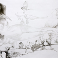 <p>Fuyapasa Landscape 2 : Girly Billy on the Mesa, 2011.&nbsp; Graphite on bristol paper, 36 x 144 inches</p>