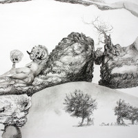 <p>Fuyapasa Landscape 2 : Girly Billy on the Mesa (detail 5), 2011.  Graphite on bristol paper, 144 x 36 inches</p>
