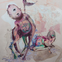 <p>Who gets to be on top, 2009.&nbsp; Oil and graphite on unstretched linen, 82 x 73inches.&nbsp; Photo credit Kris Graves.</p>
