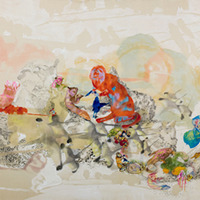 <p>Natural Order, 2008.&nbsp; Watercolor, gouache, and ink on raw silk, 42 x 144 inches.&nbsp; Photo credit Kris Graves.</p>