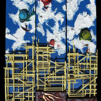 """<p><span id=""""fbPhotoSnowliftCaption"""" class=""""fbPhotosPhotoCaption""""><span class=""""hasCaption"""">Balloon Festival - 6""""x24""""x3 Mixed media on canvas. 2014</span></span></p> <p><span class=""""fbPhotosPhotoCaption""""><span class=""""fbPhotosPhotoCaption"""">My 15th, 16th, and 17th marble tracks. <span class=""""fbPhotosPhotoCaption"""">The structure built around the textured abstract parts is a track that glass marbles can roll down through the painting. </span>They feature a super textured abstract hot air balloon festival above a yellow city. The city has windows made from mica flakes. Underneath the city is the skeleton of a gigantic flying monster done with metal leaf and diamond dust.<br /></span></span></p>"""