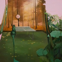 """<p><em><strong>Req. Room,</strong></em><strong></strong>2008. Oil and acrylic on canvas, 24 x 36""""</p>"""