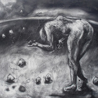 """<p style=""""text-align: center;"""">Learning the Power</p> <p style=""""text-align: center;"""">Powdered Graphite on Board 20 1/2"""" x 25 1/8"""" June 2006</p>"""