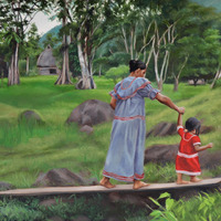 """<p style=""""text-align: center;"""">Ngobe Mother and Child</p> <p style=""""text-align: center;"""">12"""" x 16""""</p> <p style=""""text-align: center;"""">Oil on paper</p> <p style=""""text-align: center;"""">(private collection)</p>"""