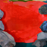 "<p><em><strong>Canyon (after Frankenthaler),</strong> </em>2014.  Oil and acrylic on canvas, 22 x 28""</p>"
