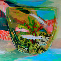<p><em>Fish Bowl</em>, acrylic and collage on panel, 11 x 14 inches</p>