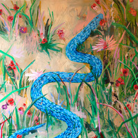 <p><em>Blue Snake,</em>acrylic and collage on panel, 24 x 24 inches</p>