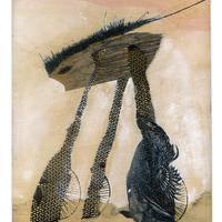<p>Battle Wheeler, 2014.&nbsp; Mixed media and found objects on wood panel, 10 x 8 inches</p>