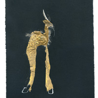 <p>Spotted Jackalope, 2014.&nbsp; Mixed media and found objects on fabriano paper, 10 x 8 inches</p>
