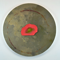 """<p><em><strong>Concrete Idea,</strong></em><strong></strong>2015. Oil, acrylic, sawdust, aluminum shavings, and spray painted collage on circular panel, 24"""" diameter.</p>"""