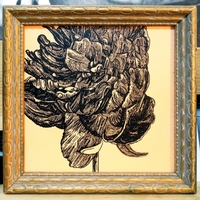 "<p>'peony study 18' Acrylic+ink on 6.125""by6.125"" MDF [7.125""by7.125"" framed]. 2015.</p>"