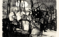 <p><em>Moonlight Warriors</em>, 1963, Lithograph on paper, 13 X 9.5 inches.</p>