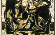 <p><em>The Bull</em>, 1963, Woodcut on rice paper, 14.5 X 11.5 inches.</p>