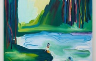 <p>By Morning We Jumped Into The Crisp Water, Oil on Canvas, 60 x 46 inches, 2015</p>