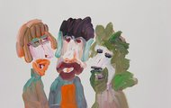 <p>Yakov,Vladimir and Slavoj, Acrylic on Paper, 18 x 24 inches, 2012</p>