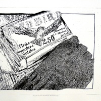 """<p align=""""center"""">Still life with mitts and matches (reconstruction)</p> <p align=""""center"""">17.75&rdquo;by11.75&rdquo; pronto plate lithograph on 22&rdquo;by15&rdquo; paper. Edition of 3. 2015.</p>"""