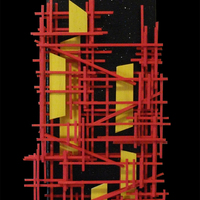 """<p>City at Night - 6""""x24"""" Mixed media on stretched canvas. 2015</p> <p>(Silver leaf, acrylic, iridescent paint, glow in the dark glitter, loose canvas, glass marbles)</p> <p>My 36th marble track. The structure built around the textured abstract parts is a track that glass marbles can roll down through the painting.</p>"""