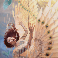"""<p style=""""text-align: center;"""">Borrowed Feathers</p> <p style=""""text-align: center;"""">24"""" x 36""""</p> <p style=""""text-align: center;"""">oil on canvas</p>"""