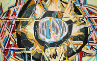"""<p><em>dying star (hexagram of solomon),</em>2016</p> <p>acrylic and flashe on canvas</p> <p>36"""" x 48""""</p>"""
