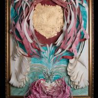 """<p style=""""text-align: center;"""">Heart of Gold</p> <p style=""""text-align: center;"""">ink, paper, frame, gold leaf &nbsp; &nbsp; &nbsp;October 2014</p> <p style=""""text-align: center;"""">ambiguous size 36"""" x 26"""" x 8""""</p>"""
