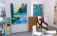 <p>Three paintings on the left at Untitled Art Base Miami 2015 with Luis De Jesus Gallery: Top Freee Petula (Private Collection New York), By Morning We Jumped Into The Crisp Water (Private Collection London) and Hanz Electro Technik (Private Collection Virginia)</p>