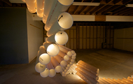 <p><em>Drain</em>&nbsp; &nbsp;PVC pipe, zip ties, lights   dimension may vary   2012</p> <p>This piece was chosen for In Flux Cycle 2 in Scottsdale Arizona.</p>
